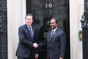 David Cameron and Somali president Sheikh Mohamud