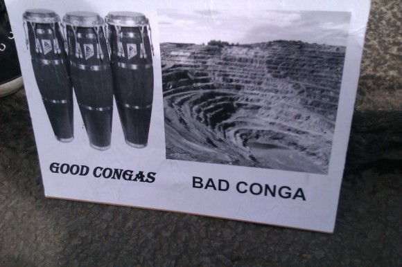 Peruvian embassy protest placards against the Conga mine