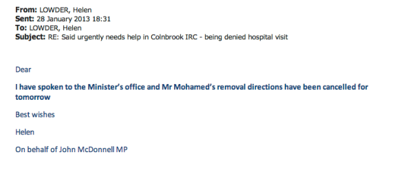An email sent to HOS yesterday from the office of John McDonnell MP informing that Said's ticket had been cancelled.