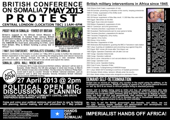 Come and organise with Hands off Somalia on 27 April 2013