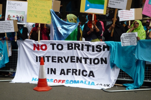 Hands off Somalia banner: NO TO BRITISH INTERVENTION IN AFRICA